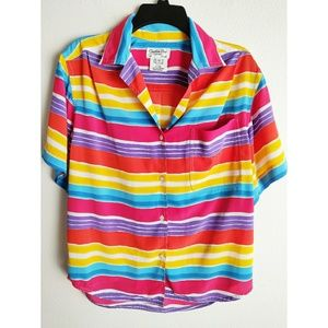 CHRISTIAN DIOR vintage rainbow striped button up